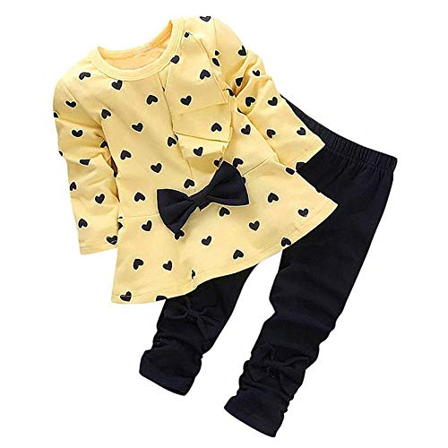 8bf54499fcc4 0-3 Years Kids Baby Girls Clothes Cute Heart-Shaped Print Bow Tops T ...