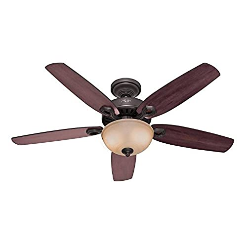 Hunter douglas ceiling fan amazon hunter 53091 builder deluxe 5 blade single light ceiling fan with brazilian cherrystained oak blades and piped toffee glass light bowl 52 inch new bronze aloadofball Choice Image