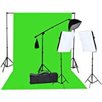 Fancierstudio 2000 Watt  Lighting Kit with 10x12 Chromakey Green Screen and Three Softbox Lights (One with Boom Arm Hairlight Softbox) for Studio Photography and Video Lighting  (F9004SB 10x12G)