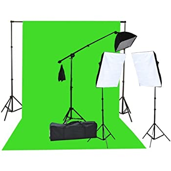 Fancierstudio 2000 Watt Lighting Kit with 10'x12' Chromakey Green Screen and Three Softbox Lights (One with Boom Arm Hairlight Softbox) for Studio Photography and Video Lighting (F9004SB 10x12G)