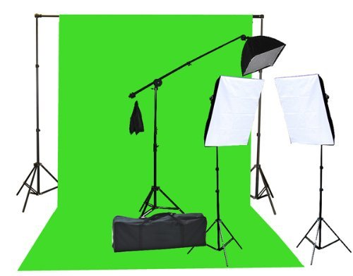 Fancierstudio 2000 Watt  Lighting Kit with 10'x12′ Chromakey Green Screen and Three Softbox Lights (One with Boom Arm Hairlight Softbox) for Studio Photography and Video Lighting  (F9004SB 10x12G)