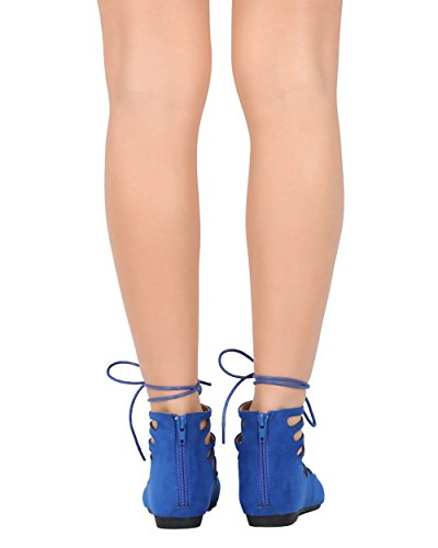 Nature Breeze EC97 Women Suede Pointy Toe Gilly Tie Wrap Lace Up Flat - Blue DII9Cmhx