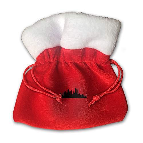 CYINO Personalized Santa Sack,Houston Skyline Silhouette Portable Christmas Drawstring Gift Bag (Red)
