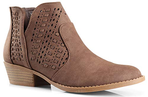 LUSTHAVE Perforated Laser Cut Out Stacked Chunky Low Heel Ankle Bootie - Side V-Cut Back Zipper Boots Brown Pu
