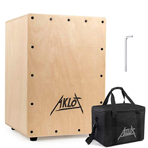 AKLOT Cajon Box Drum Wooden Percussion Box with Internal Adjustable Snares Birch Wood Compact Size