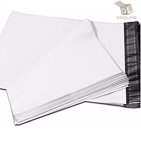 "24 x 24 Inch ProLine Packaging Supplies White Poly Mailers Self-Sealing Shipping Envelopes Plastic Mailing Bags 2.5 Mil Thickness 24""x24"" (50 Poly Mailers)"