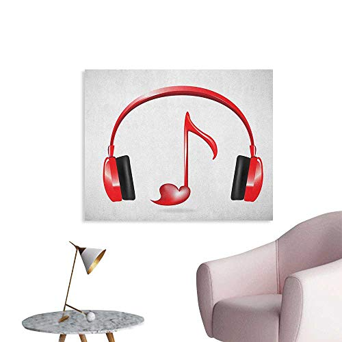(Anzhutwelve Music Wallpaper Love Sound Headphones with Heart Shaped Key Note Symbol Melody Artistic Design Custom Poster Red Black Grey W36 xL32)