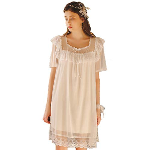 (Ageaoa Women's Basic Nightgown Nightgowns for Women with Ruffle Hem Short Night Dress Short Sleeve Sleepshirt,White,M)