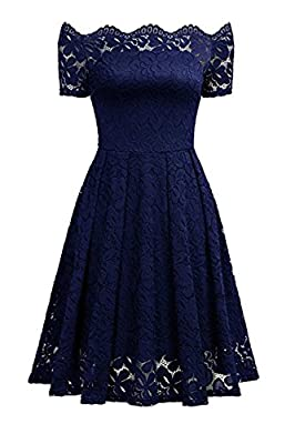 Aibwet Women's Vintage Dresses Floral Lace Long Sleeve Boat Neck Cocktail Formal Swing Dress