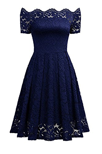 (Aibwet Women's Vintage Dresses Floral Lace Short Sleeve Boat Neck Off-The-Shoulder Cocktail Formal Swing Dress)