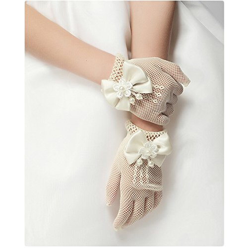 Sheer Beaded Gloves (Unilove Flower Girl's Lace Bowknot Net Voile Wedding Gloves Princess Glove(Ivory))