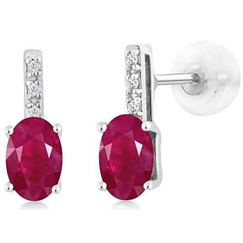 Gem Stone King 14K White Gold Oval Red Ruby Stud Diamond Women's Stud Earrings 1.23 Cttw 6X4mm Oval 14k 6x4mm Oval Ruby Earring
