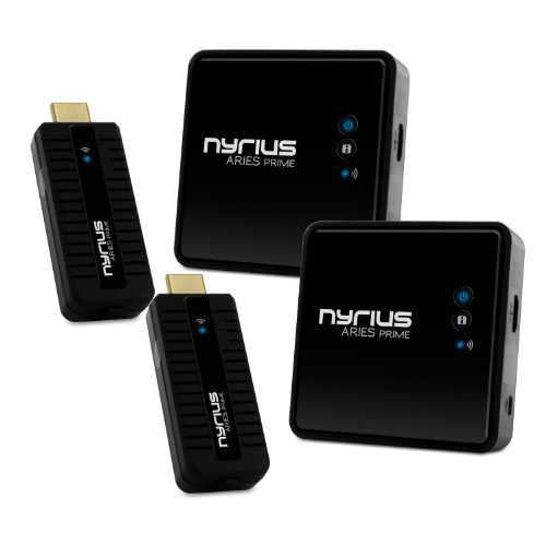 Nyrius ARIES Prime Wireless Video HDMI Transmitter & Receiver for Streaming HD 1080p 3D Video & Digital Audio from Laptop, PC, Cable, Netflix, YouTube, PS4, Xbox One to HDTV - NPCS549 (Pack of 2) by Nyrius