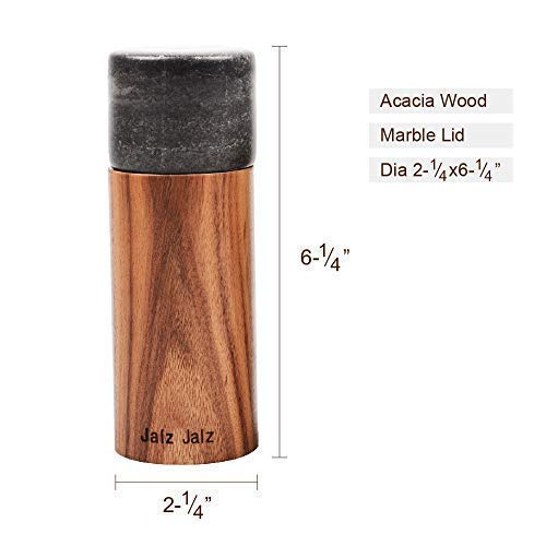 jalz jalz Wood Pepper Mill and Wooden Salt Grinder with Precision Mechanism with Black Marble Top