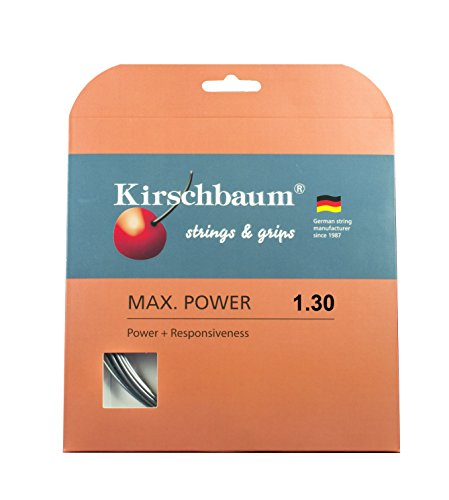 Kirschbaum Set Max Power Tennis String 1.30mm/16-Gauge, Silver Grey
