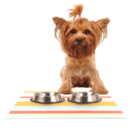 KESS InHouse Nika Martinez Sand Stripes Feeding Mat for Pet Bowl, 24 by 15-Inch