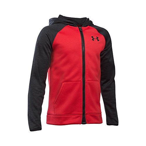 Under Armour Boys' Storm Armour Fleece Full Zip Hoodie, Red/Black, Youth Large