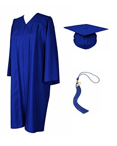 GradPlaza Unisex Graduation Gown with Cap and Tassel 2019 Matte Robe Royal Blue -