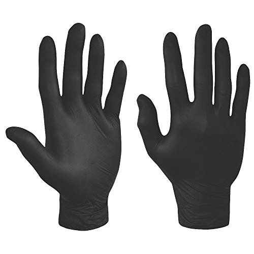 Box of 100 Nitrile Gloves Powder Free in Black LARGE