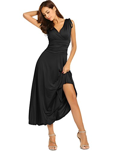 ACEVOG Women's Sleeveless Ruched Waist Classy V-Neck Casual Cocktail Party Dress,Black,Large ()