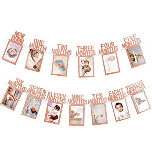 Whaline 1st Birthday Baby Photo Banner for Newborn to 12 Months, Monthly Milestone Photograph Bunting Garland, First Birthday Celebration Decoration (Rose Gold)