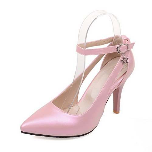 VogueZone009 Women's Soft Material Pointed Closed Toe High-Heels Buckle Solid Pumps-Shoes Pink ea3chwu