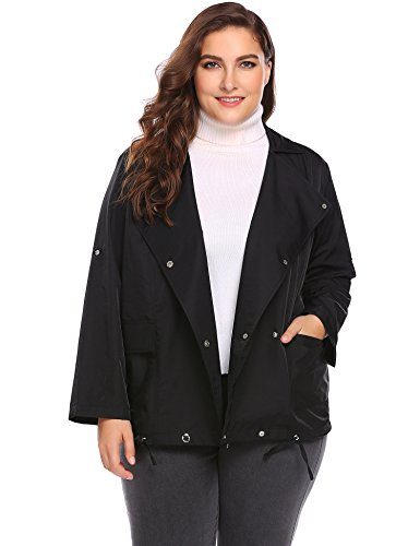 Women Plus Size Jacket Windproof Long Sleeve Double-Breasted Lightweight Jacket - Trench Sateen