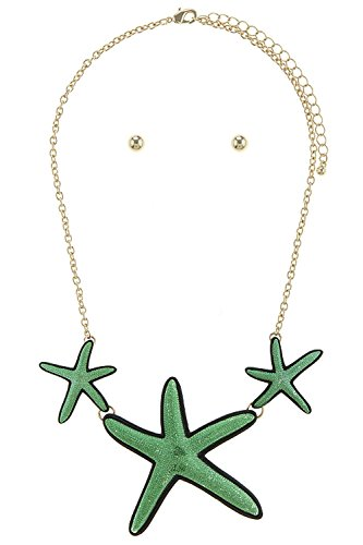 Foxtail Cluster (TRENDY FASHION JEWELRY POP ART STARFISH CLUSTER BIB NECKLACE SET BY FASHION DESTINATION | (Green))