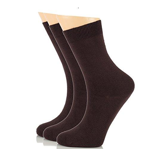 - Women's Dress Crew Socks Bamboo Business Casual Comfort Socks SHOE SIZE : 6-9 & 9-12 (3 Pairs) (6-9, Brown (3 Pairs))