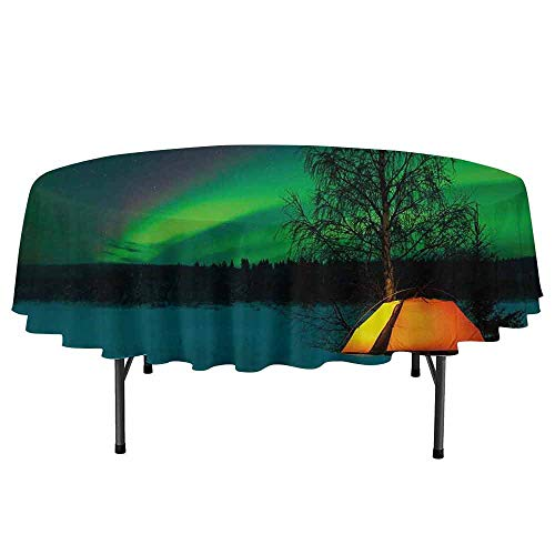 DouglasHill Aurora Borealis Leakproof Polyester Round Tablecloth Camping Tent Under Magnetic Field Nature Picture Outdoor and Indoor use D40 Inch Lime Green Dark Blue Earth Yellow