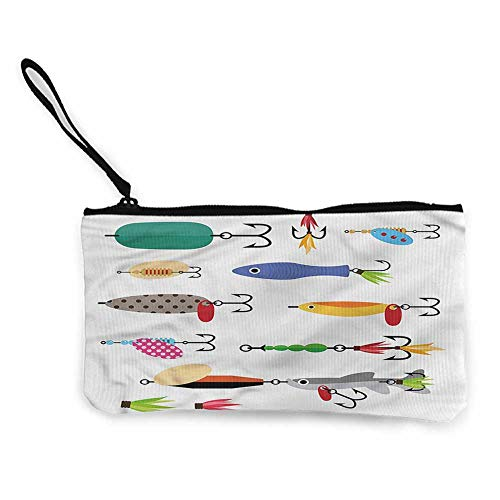 Canvas purse Fishing,Stinger Net and Worms W8.5