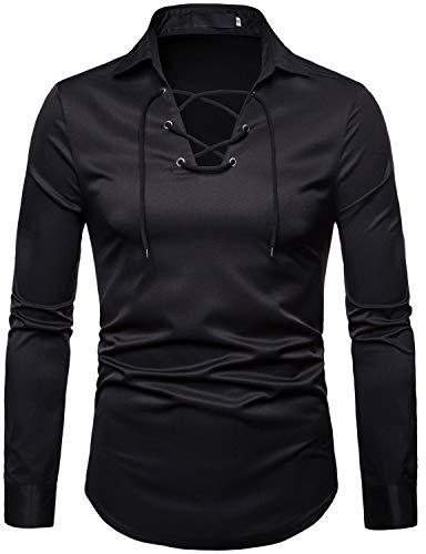 ZEROYAA Mens Scottish Jacobite Ghillie Kilt Shirt Casual Long Sleeve Lace-up Shirts Tops ZHCL17 Black Medium