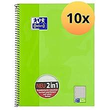 Oxford KarLi 100050362 - Cuaderno de espiral (10 unidades, cuadriculado con rayas, 80 hojas, A4+, 90 g/m²), color verde