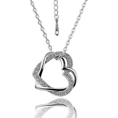 [Next-Mon 2016 Fashion Stylish Platinum Heart Pendant Czech Diamond Lady Necklace(Silver)] (Homemade Elephant Costume Ears)