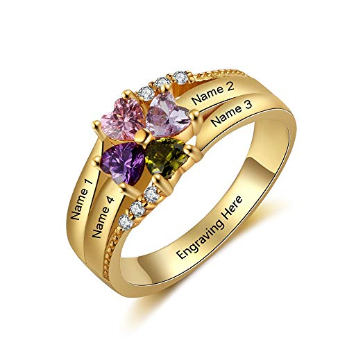 LanM Personalized Mother Rings with 4 Simulated Birthstones for Women Customized Engraved Name Rings for Family Mothers Day Rings (7)