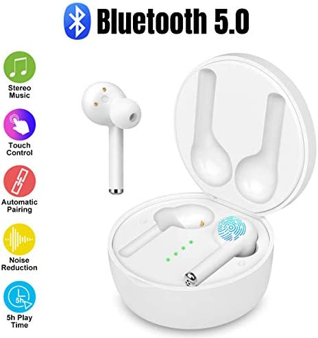 ZMKDLL Wireless Earbuds Bluetooth 5.0 with Charging Case Bluetooth Earbuds Premium Sound with Deep Bass Stereo Wireless Headphones In-Ear Headset Built-in Mic Wireless Earbuds for Sports,Workout,Gym