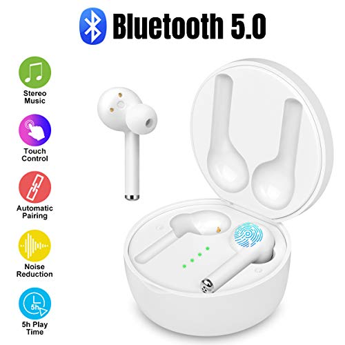 Wireless Earbuds Bluetooth 5.0 with Wireless Charging Case Bluetooth Earbuds Premium Sound with Deep Bass Stereo Wireless Headphones In-Ear Headset Built-in Mic Wireless Earbuds for Sports,Workout,Gym