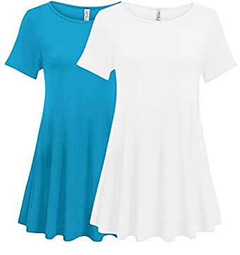 Simlu Womens Short Sleeve Tunic Tops Plus Size and reg Tunic Shirt for Leggings - Made in USA 2 PK Turquoise/White Small