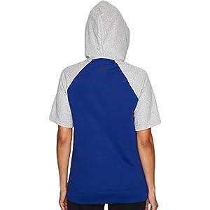 adidas Womens Athletics Fashion Full Zip Short sleeve Hoody, Mystery Ink/Medium Grey Heather/Noble Ink, Medium