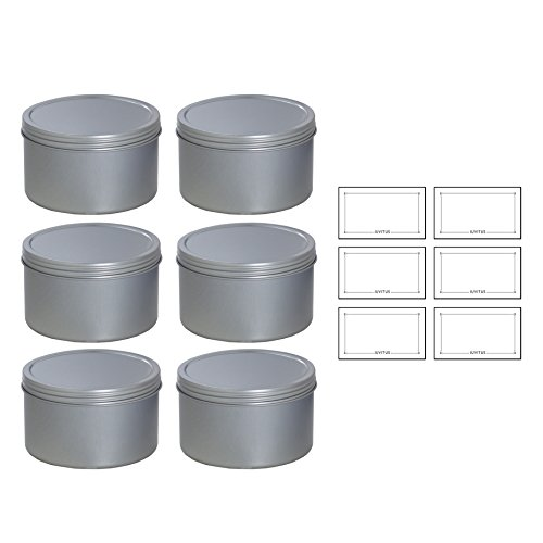 (Silver Deep Metal Tin Containers with Screwtop Twist Lids 16 oz (6 Pack) + Labels)