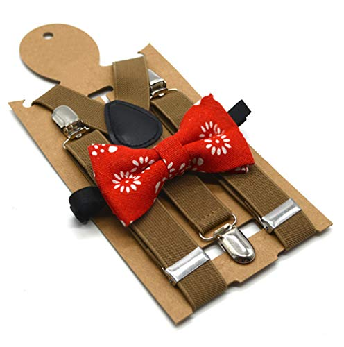 - Flairs New York Little Gentleman's Kids Bow Tie and Suspenders (Red Chambray/Dark Khaki)