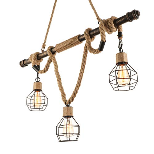 BAYCHEER Multi-Light Natural Rope Pendant Lights Chandelier Celling Lamp Hanging Light Fixture with Cage Guard for Indoor Warehouse Barn in Dark Bronze use 3 E26 Bulbs (Nautical Rope Chandelier)