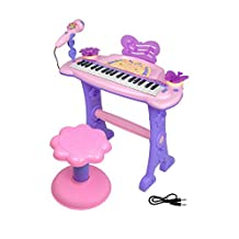 Kids Piano,aPerfectLife Musical Kids Electronic Multi-function Keyboard 37 Keys Toy Piano with Microphone and Stool Educational Gift for Children