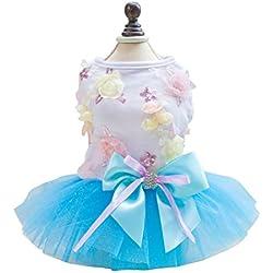 uxcell Small Pet Dog Princess Dress Cat Puppy Skirt Tutu Apparel Costume Blue XL