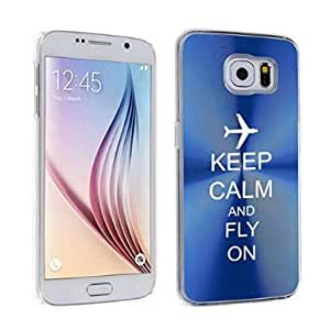 Samsung Galaxy S6 Aluminum Plated Hard Back Case Cover Keep Calm and Fly On Airplane (Blue)