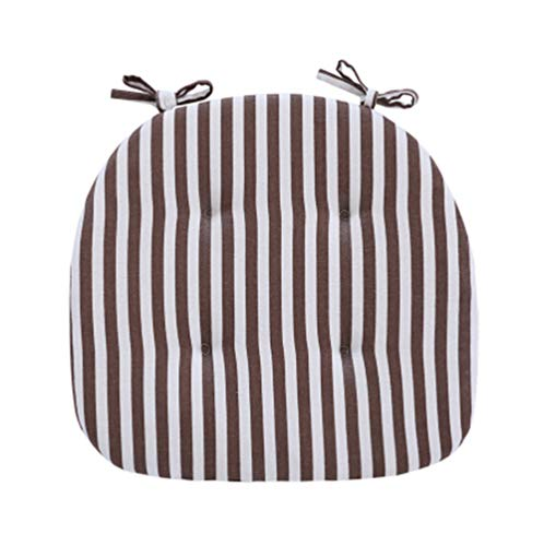 (JINGXIN Dining Room Chair Pad Students Seat Cushion with Ties - 15.7 x 16.5 Inches(Coffee White Wide Stripes,2pcs))