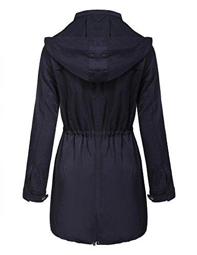 Chaqueta Lluvia Mujer Abrigo De Plegable Angvns Oscuro Capucha Impermeable 1 Gris Larga Manga RFwqg51nx