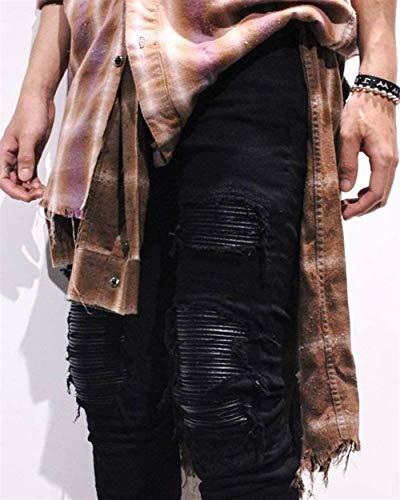 Casual Da Moda Pantaloni Nero Fit Slim Uomo Skinny Strappati Vintage Abbigliamento Jeans wxfqTdvw