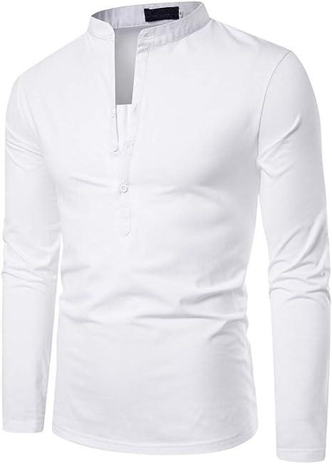 MUMU-001 Camisa sólida para Hombre Feitong Botón Delgado Cuello Alto Manga Larga Blusa Superior Camisa Pullover Camisas Hombre: Amazon.es: Deportes y aire libre