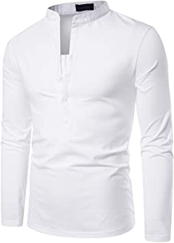 MUMU-001 Camisa sólida para Hombre Feitong Botón Delgado ...